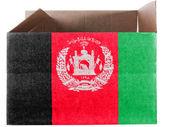 阿富汗国旗画在纸箱或包 — 图库照片
