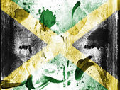 Jamaica flag painted on grunge wall — Stock Photo