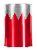 Bahrain. Bahraini flag painted on shiny tin can — Stock Photo