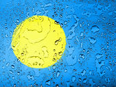 Palau flag covered with water drops — Stock Photo