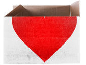 Red Heart symbol painted on carton box or package — Stock Photo