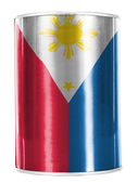 Philippine flag painted on shiny tin can — Stock Photo