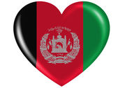 Afghanistan flag painted on glossy heart icon — Photo