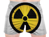 Nuclear radiation symbol painted on sport shirts — Stock Photo