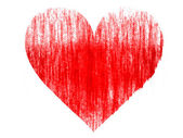 Red Heart symbol drawn on white background with colored crayons — Stock Photo
