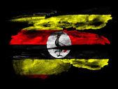 Bandera de uganda pintada sobre papel negro texturado con acuarela — Foto de Stock