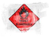 Highly flammable sign drawn on painted with watercolor on paper — Stock Photo