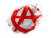 Anarchy symbol painted n painted with brush on white background — Stock Photo