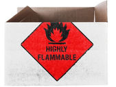 Highly flammable sign drawn on painted on carton box or package — Stok fotoğraf
