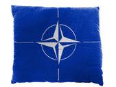 NATO symbol painted on pillow — Stock Photo