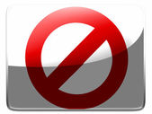 Forbidden sign painted on square interface icon — Stock Photo