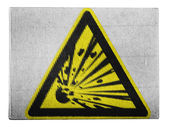 Explosive sign drawn on painted on carton box — Stock Photo