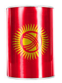 Kyrgyzstan flag painted on shiny tin can — Stock Photo