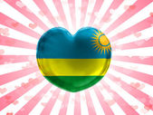 Ruanda flag painted on glass heart on stripped background — Stock Photo