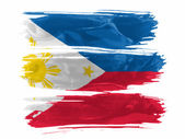 Philippine flag painted with three strokes of paint in white — Stock Photo