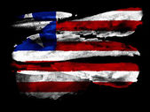 Liberia. Liberian flag painted on black textured paper with watercolor — Stock Photo
