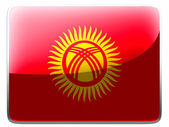 Bandera de Kirguistán pintado en icono cuadrado interfaz — Foto de Stock