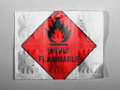 Highly flammable sign drawn on painted on pills — Stok fotoğraf