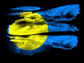 Palau flag painted on black textured paper with watercolor — Stock Photo