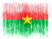флаг буркина-фасо обращается на белом фоне с цветными карандашами — Стоковое фото