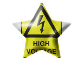 High voltage sign drawn at. Glossy star — Stock Photo