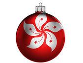 Bandera de hong hong en una navidad, juguete de navidad — Foto de Stock