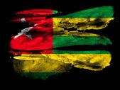 多哥国旗画在黑色纹理纸上水彩 — 图库照片