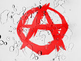 Anarchy symbol painted n covered with water drops — Foto de Stock