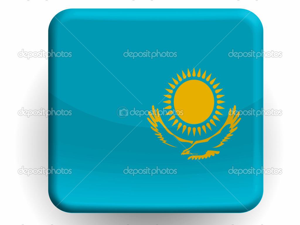 哈萨克斯坦国旗画在光泽图标 mdash图片