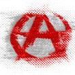 Stock Photo: Anarchy symbol painted on dotted surface