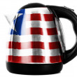 Stock Photo: Liberia. Liberiflag painted on shiny metallic kettle