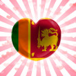 Sri Lanka flag painted on glass heart on stripped background — Stock Photo #23440804
