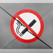 Stock Photo: No smoking sign drawn at painted on grey envelope