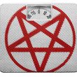 Stock Photo: Pentagram symbol painted on painted on balance