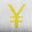 Yen sign painted on  painted on bubblewrap - Lizenzfreies Foto