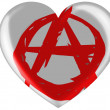 Stock Photo: Anarchy symbol painted n painted on glossy heart icon