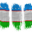 Uzbekistan flag  painted with 3 vertical  brush strokes on white background - Stock Photo