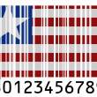 Stock Photo: Liberia. Liberiflag painted on barcode surface