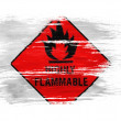 Stok fotoğraf: Highly flammable sign drawn on on white background