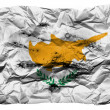 Cyprus flag  painted on crumpled paper - Stock Photo