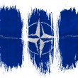 NATO symbol painted on painted with 3 vertical  brush strokes on white background — Stock Photo