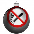 No smoking sign drawn on a Christmas, x-mas toy — Stock Photo