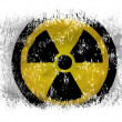 Stock Photo: Nuclear radiation symbol painted on on white background