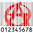 Anarchy symbol painted on barcode surface — Stock Photo