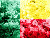 Benin. Benini flag painted dirty and grungy paper — Stock Photo