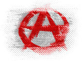 Anarchy symbol painted on dotted surface — Stock Photo