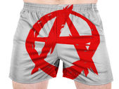 Anarchy symbol painted on sport shirts — Stock Photo