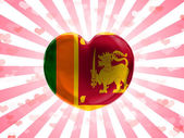 Sri Lanka flag painted on glass heart on stripped background — Stock Photo
