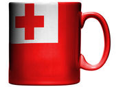 Tonga flag painted on coffee mug or cup — Stock Photo