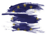 Europe Union flag painted on painted on white surface — Stock Photo